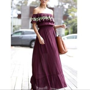 Off the Shoulder Embroidered Boho Ruffle Maxi